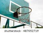 basketball hoop in the park ...   Shutterstock . vector #487052719