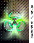 Glowing biohazard symbol over steel background Conceptual photo-illustration Contains a clipping path - stock photo