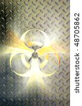 Glowing biohazard symbol over steel background Conceptual photo-illustration - stock photo