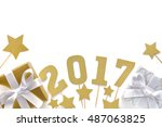 new year 2017 decoration on... | Shutterstock . vector #487063825