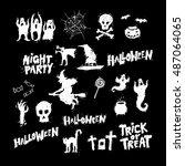 happy halloween poster  banner  ... | Shutterstock .eps vector #487064065