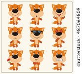 vector set isolated emotion fox.... | Shutterstock .eps vector #487064809