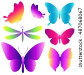 color butterflies isolated on a ... | Shutterstock .eps vector #487068067