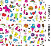 set of seamless vector patterns ... | Shutterstock .eps vector #487068589