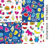 set of seamless vector patterns ... | Shutterstock .eps vector #487068601
