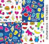set of seamless vector patterns ... | Shutterstock .eps vector #487068601
