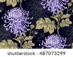 vector seamless floral pattern. ... | Shutterstock .eps vector #487073299