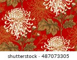 Stock vector vector seamless floral pattern japanese national flower chrysanthemum illustration luxury design 487073305