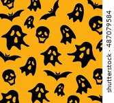 halloween vector background in... | Shutterstock .eps vector #487079584
