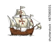 sailing ship floating on the... | Shutterstock .eps vector #487080031