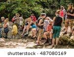 Small photo of Mallham, Yorkshire, UK. August * 2016. Summer visitors to Janet Foss waterfall at Mallam enjoying the beautiful hot day, Mallham, Yorkshire, UK