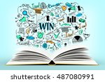 open book with creative... | Shutterstock . vector #487080991