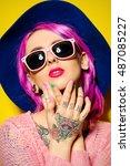 pretty girl with crimson hair... | Shutterstock . vector #487085227