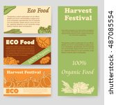 harvest festival and eco food...   Shutterstock .eps vector #487085554
