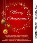 christmas card with magic gold... | Shutterstock .eps vector #487087567