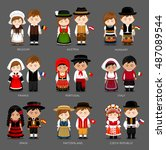 people in national dress.... | Shutterstock .eps vector #487089544