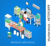 isometric laboratory analysis... | Shutterstock .eps vector #487091899