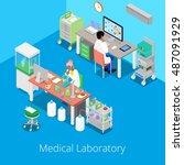 isometric laboratory analysis... | Shutterstock .eps vector #487091929