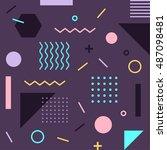 trendy geometric memphis style... | Shutterstock .eps vector #487098481