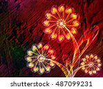floral style smoke multicolored ...   Shutterstock . vector #487099231