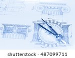 architectural drawing   detail... | Shutterstock . vector #487099711