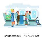 interior of plane flat design | Shutterstock .eps vector #487106425