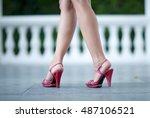 beautiful female legs in red... | Shutterstock . vector #487106521
