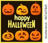 happy halloween card   Shutterstock . vector #487107865