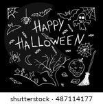 free hand drawn. halloween set... | Shutterstock . vector #487114177