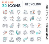 set vector line icons in flat... | Shutterstock .eps vector #487114489