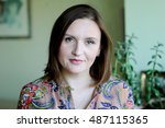 closeup portrait of elegant...   Shutterstock . vector #487115365