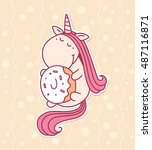 vector illustration of cute... | Shutterstock .eps vector #487116871
