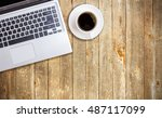 vintage wood working table with ... | Shutterstock . vector #487117099