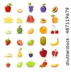 vector fruits and slices... | Shutterstock .eps vector #487119679