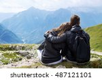 couple of travelers  hikers  on ... | Shutterstock . vector #487121101