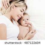 mother and baby playing and... | Shutterstock . vector #487122604