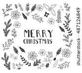 black and white christmas... | Shutterstock .eps vector #487126849