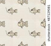 seamless handmade pattern on... | Shutterstock . vector #487129081