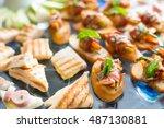 banquet lunch break at... | Shutterstock . vector #487130881