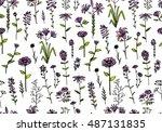 floral seamless pattern  sketch ... | Shutterstock .eps vector #487131835