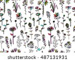 floral seamless pattern  sketch ... | Shutterstock .eps vector #487131931