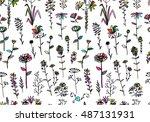 floral seamless pattern  sketch ... | Shutterstock .eps vector #487131931