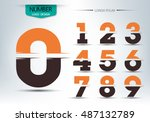 number font template  set of... | Shutterstock .eps vector #487132789