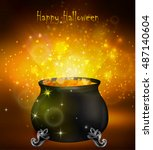 halloween witches cauldron | Shutterstock .eps vector #487140604