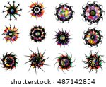 tattoo graphic circle... | Shutterstock .eps vector #487142854