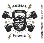 two barbell and head gorilla... | Shutterstock . vector #487144729