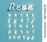 realistic neon character... | Shutterstock .eps vector #487146229