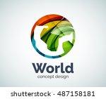 earth logo template  abstract... | Shutterstock . vector #487158181