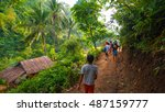 hikers passing by jungle... | Shutterstock . vector #487159777