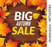 big autumn sale design template ... | Shutterstock .eps vector #487163584